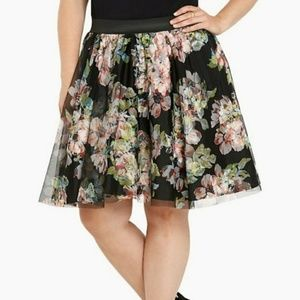 Torrid tulle and mesh floral circle skirt